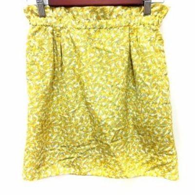 【中古】マカフィー MACPHEE トゥモローランド スカート タイト ミニ 総柄 36 黄色 イエロー /RT レディース