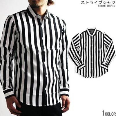 【SUPERIOR EL】ストライプ 長袖シャツ メンズ 白黒 シャツ モノトーン 日本製