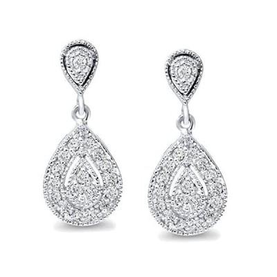 1/ 2ct Pear Shapeダングルダイヤモンドイヤリング10Kホワイトゴールド