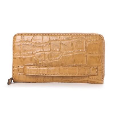 イタリコ ITALICO 日本製 クロコ型押し 牛革 国産 レザー ウォレット クラッチ 手持ち財布 (キャメル)