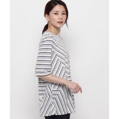 tシャツ Tシャツ ブロッキングストライプ6分袖カットソー