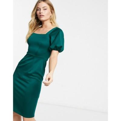 クローゼットロンドン Closet London レディース ワンピース ペンシル ミドル丈 square neck pencil midi dress with puff sleeve in emerald green グリーン