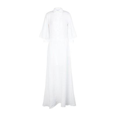EUROPEAN CULTURE ロングワンピース&ドレス アイボリー XS リネン 97% / コットン 1% / レーヨン 1% / ポリウレタ