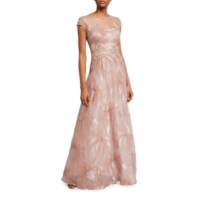 テリージョン レディース ワンピース トップス Cap-Sleeve 3D Applique Gown