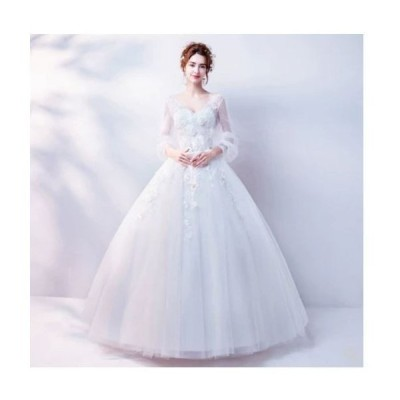 ワンピース 長袖 Vネック 優雅 上品 ウェディングドレス フォーマル プリンセス  ロング    豪華  披露宴 編み上げ  結婚式 二次会 お呼ばれ