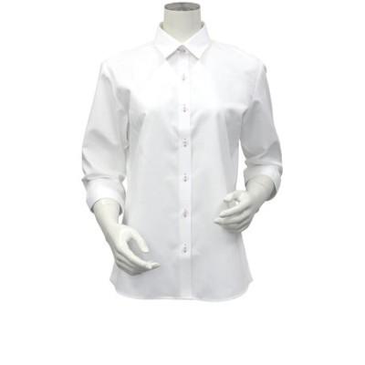レディース ウィメンズシャツ 七分袖 形態安定 レギュラー衿 白×ヘリンボーン織柄 (COOLMAX(R))