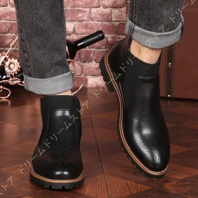 サイドゴアブーツ チェルシーブーツ メンズ ブランド ショートブーツ スエードブーツ 黒ブーツ カジュアルブーツ 冬 人気 靴  ハイカット 裏起毛