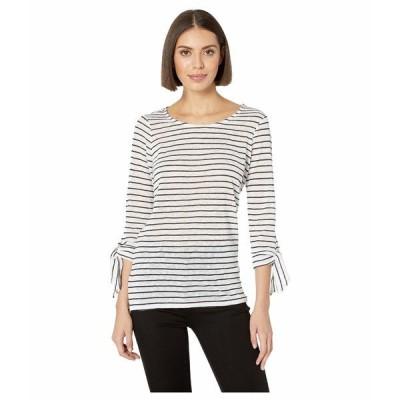 トリバル シャツ トップス レディース Yarn-Dye Stripe 3/4 Sleeve Top w/ Ties Black