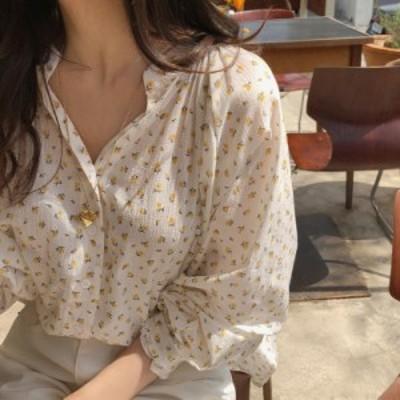 小花柄 シャツ ブラウス 長袖 立ち襟 ゆったり 大人可愛い カジュアル  ホワイト 春夏 デイリー お出かけ