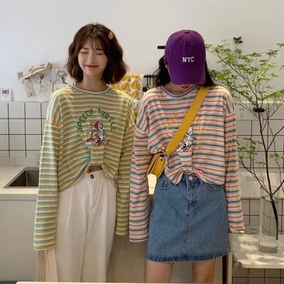全2色 長袖Tシャツ プリント LOGO ロゴ 英字 ドルマンスリーブ ゆったり ボーダー柄 韓国風