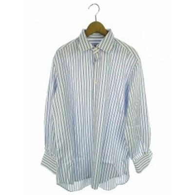 【中古】ブルマリン Blumarine ウオモ UOMO トップス ワイシャツ マルチストライプ 長袖 ホワイト ブルー系 水色