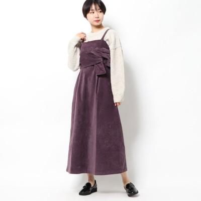 スタイルブロック STYLEBLOCK リブレスコールフロントツイストジャンパースカート (パープル)