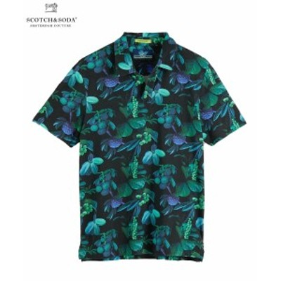 送料無料 SCOTCH&SODA スコッチ&ソーダ ポロシャツ Printed Mercerized Polo ブラック 292-14513 メンズ トップス 半袖 カジュアル