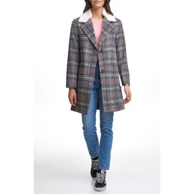 リーバイス LEVI'S レディース コート シアリング アウター Wool Top Coat with Faux Shearling Collar Plaid Pink