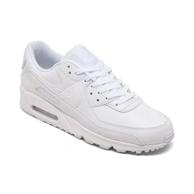 ナイキ スニーカー シューズ メンズ Men's Air Max 90 Leather Casual Sneakers from Finish Line White