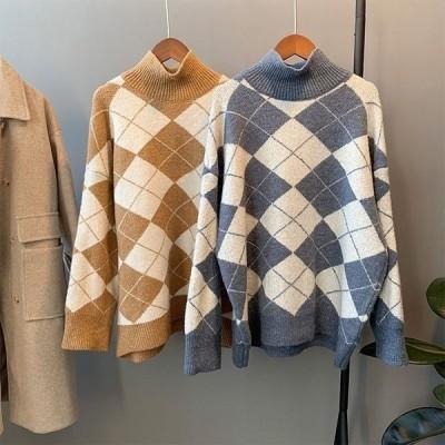 ハイネックプルオーバーセーターチェック柄長袖セーター秋冬物着やせ上質感簡単にシンプル伸縮性ニットゆったりトップス