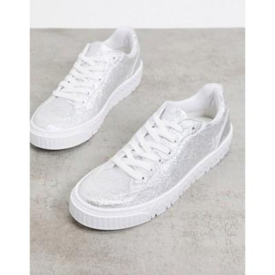 エイソス レディース スニーカー シューズ ASOS DESIGN Desert lace up sneakers in silver