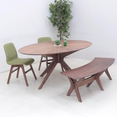 ダイニングテーブルセット 楕円 幅182cm 4点セット sbkt182-4-pani339wn 光線張り ウォールナット GR色 オーバル チェア イス2 ベンチ1 24s-5k so