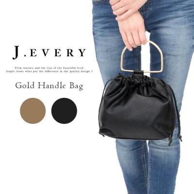バッグ 巾着 ブラック ブラウン 黒 茶 レディース ハンドバッグ ショルダーバッグ ゴールド ハンドル J.EVERY ジェイエブリー