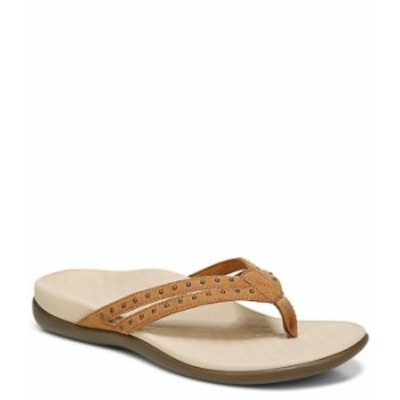 バイオニック レディース サンダル シューズ Tasha Studded Detail Thong Sandals Toffee