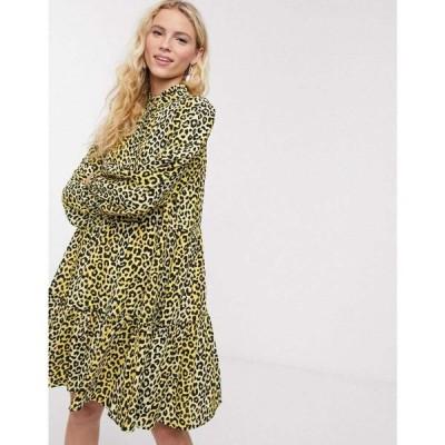 ノートデュノール Notes Du Nord レディース ワンピース シャツワンピース ワンピース・ドレス Olivia Leopard Print Mini Shirt Dress In Lemon Leopard