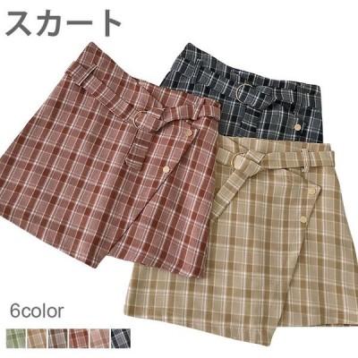 【セール】タータンチェック レディース WE リメイク風スカート ミニスカート ショート丈 チェック柄 ハイウエスト 切り替え お洒落 すっきり