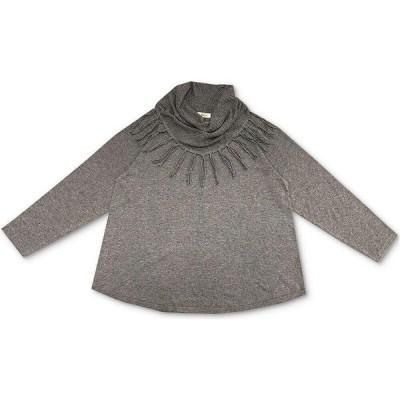 スタイル&コー Style & Co レディース ニット・セーター 大きいサイズ トップス Plus Size Cowlneck Fringed Sweater Medium Grey Heather