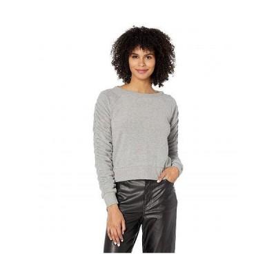 Chaser チェイサー レディース 女性用 ファッション セーター Bliss Knit Shirred Long Sleeve Raglan Pullover - Heather Grey