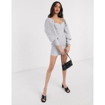エイソス レディース ワンピース トップス ASOS DESIGN blouson sleeve mini dress in mono boucle Mono boucle