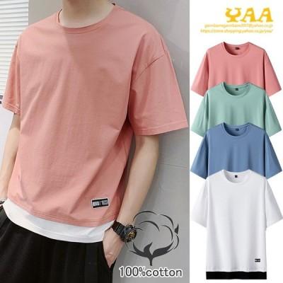 Tシャツ 切り替え カットソー 綿t トップス 100%コットン クルーネック 半袖 細身 おしゃれ メンズ 2020 夏 新作