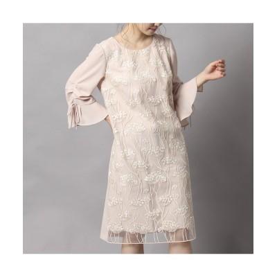 【ローズティアラ】 シャーリングスリーブミモザ刺繍ワンピース レディース ベージュ 46 Rose Tiara