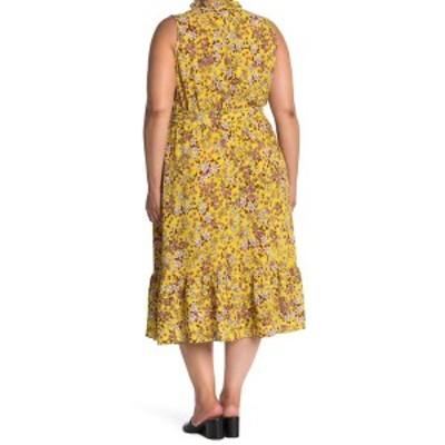 ロンドンタイムス レディース ワンピース トップス Ruffle Wrap Dress YELLOW