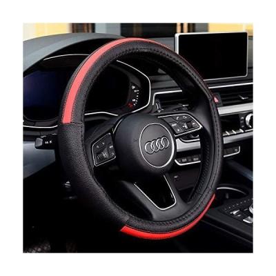 LUYED ハンドルカバー Mサイズ ハンドル 赤 外径37.5~38.9cmのミニバン 1BOX RV 乗用車 普通自動車 ステアリングカバー 革製