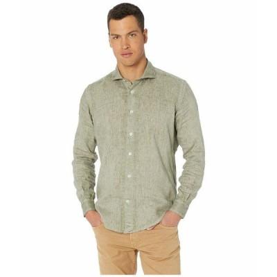 イレブンティ シャツ トップス メンズ Washed Solid Linen Sport Shirt Sage