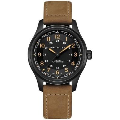 ハミルトン メンズ 腕時計 アクセサリー Men's Swiss Automatic Khaki Field Brown Leather Strap Watch 42mm