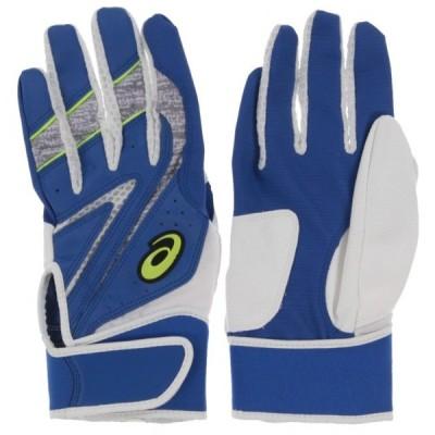 アシックス メンズ 両手用 野球 バッティング用手袋 バッティングカラー手袋 3121A467 : ブルー asics