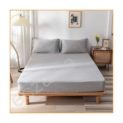 Douhジャージーコットンfitted-sheet with 15インチ深いポケット(フィットシート、2枕カバー)-solidパターンフィッ