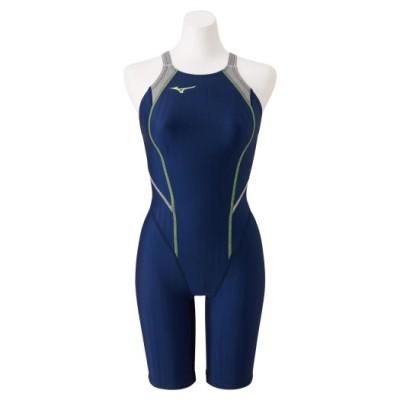 ミズノ 競泳用ハーフスーツ(レースオープンバック)[ジュニア] 84ネイビー×ライム 140 スイム 競泳水着 STREAM ACE N2MG0420