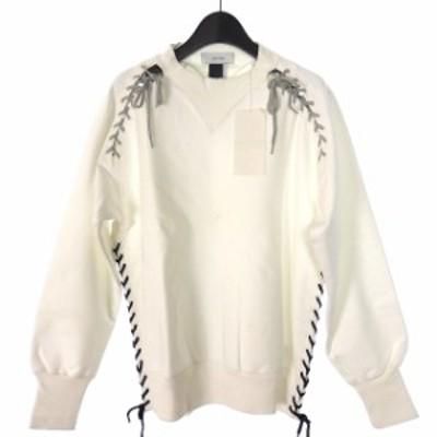 【中古】ファセッタズム FACETASM レースアップ スウェットシャツ トレーナー 長袖 3 ホワイト 白 BQ-?SW-U01 メンズ