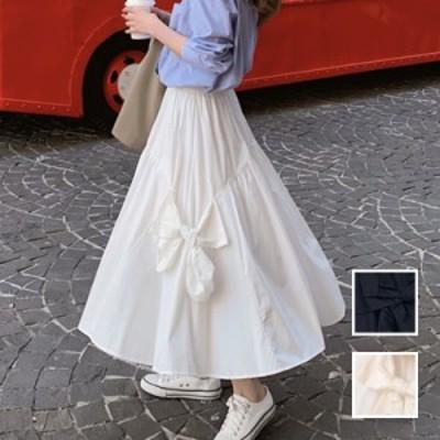 韓国 ファッション レディース スカート ボトムス 春 夏 カジュアル naloJ566  リボン 切替え ギャザー ティアード Aライン シンプル コ
