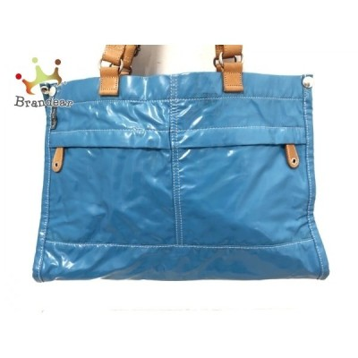 オーラカイリー トートバッグ ライトブルー×ライトブラウン PVC(塩化ビニール)×レザー 新着 20200522