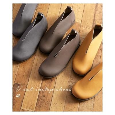 靴 大きいサイズ レディース 日本製 軽量 Vカット 甲深 シューズ 4Eワイズ 23.5/24/24.5/25cm ニッセン nissen