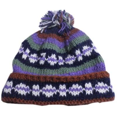 帽子 ネパール・手編みボンボン帽子27 クリックポスト選択 送料200円