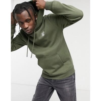 シックシルク SikSilk メンズ パーカー トップス muscle fit hoodie in khaki グリーン