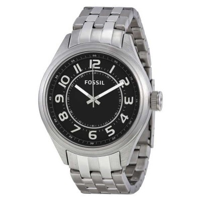 腕時計 フォッシルFossil Asher ステンレス スチール ブラック ダイヤル メンズ ドレス 腕時計 47ミリ BQ1037 115