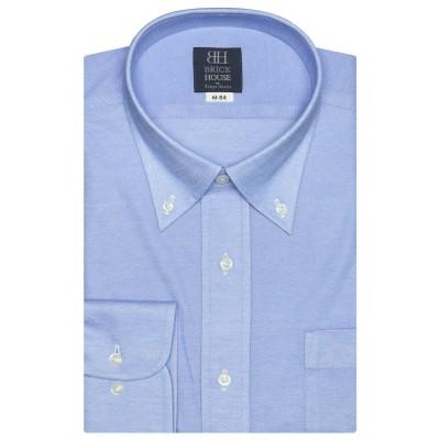 トーキョーシャツ TOKYO SHIRTS ビズポロ 形態安定ノーアイロン ボタンダウン 長袖ビジネスニットワイシャツ (ブルー)