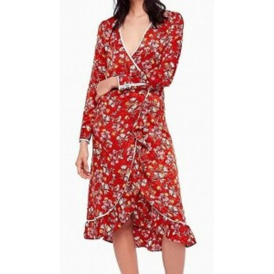 Free People フリーピープル ファッション ドレス Free People Womens Red Size 10 Floral Print Ruffle Trim Wrap Dress