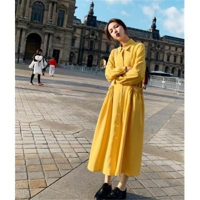 雑志で绍介されました★ 韓国ファッション CHIC気質 大人気 おしゃれな トレンド 新品 スリム 長袖 中・長セクション 単体ボタン シャツワンピ