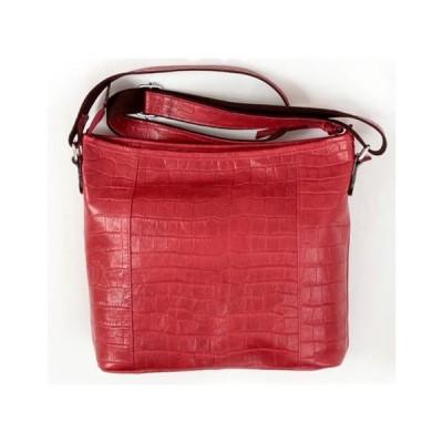 良質牛革 ショルダーバッグ クロコ型押し 本革 日本製 ワインレッド No.2587 レディースバッグ (鞄 かばん バッグ) 女性かばん