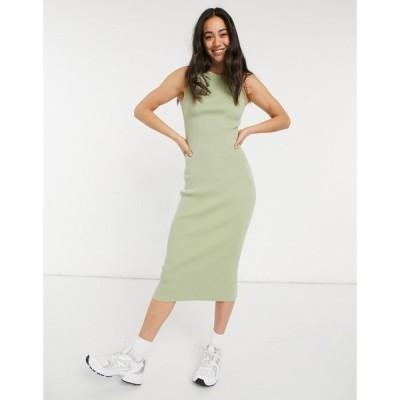 プリティーラビッシュ Pretty Lavish レディース ワンピース ミドル丈 ワンピース・ドレス Billie Knit Midi Dress In Olive オリーブ